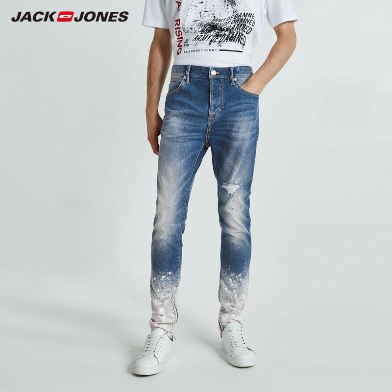 JackJones Autumn Men's Personalized Gradient Paint Point  Jeans Streetwear 218332520