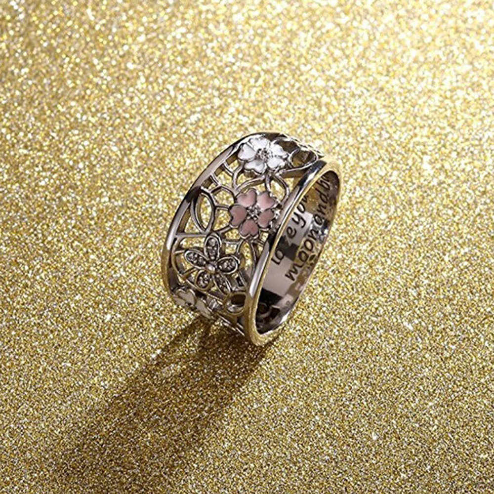 Joyería de las mujeres flores creativas anillo de cristal ahuecado dedo anillos de boda para mujeres regalos de cumpleaños moda envío gratuito