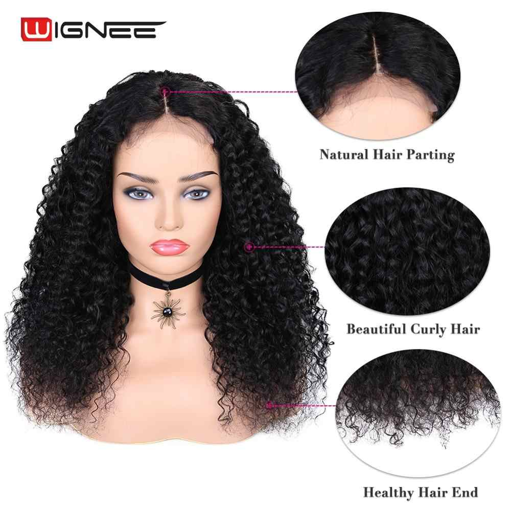 Wignee Middle Part Curly Human Hair Wigs For Black Women 4x4 Lace Closure Glueless Pre Plucked Natural Hairline Lace Human Wig