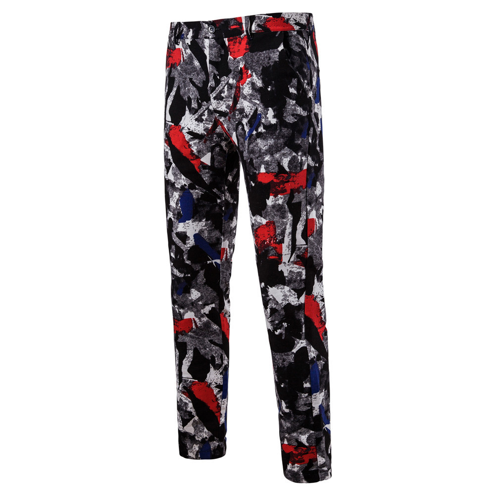 Man Nation Wind Printing Leisure Time Western-style Trousers K52