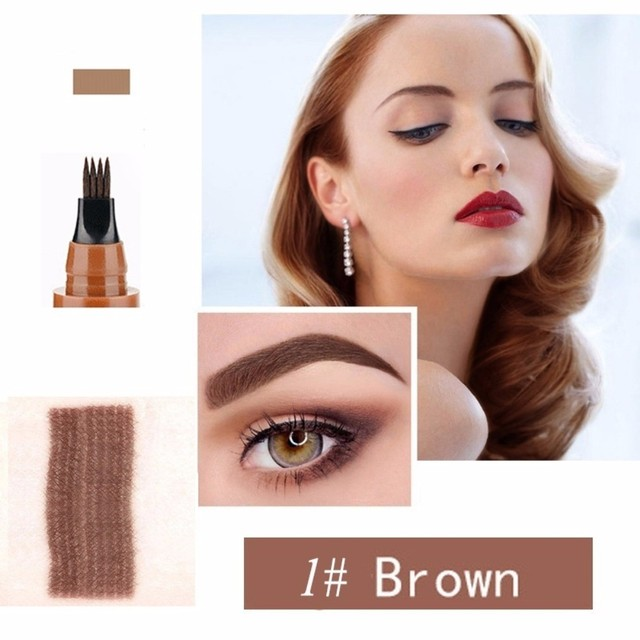 Makeup Microblading Four Fork Tip Eyebrow Pencil Waterproof Eye Brow Tattoo Pen  Fine Sketch Enhancer Makeup Cosmetic TSLM2 2