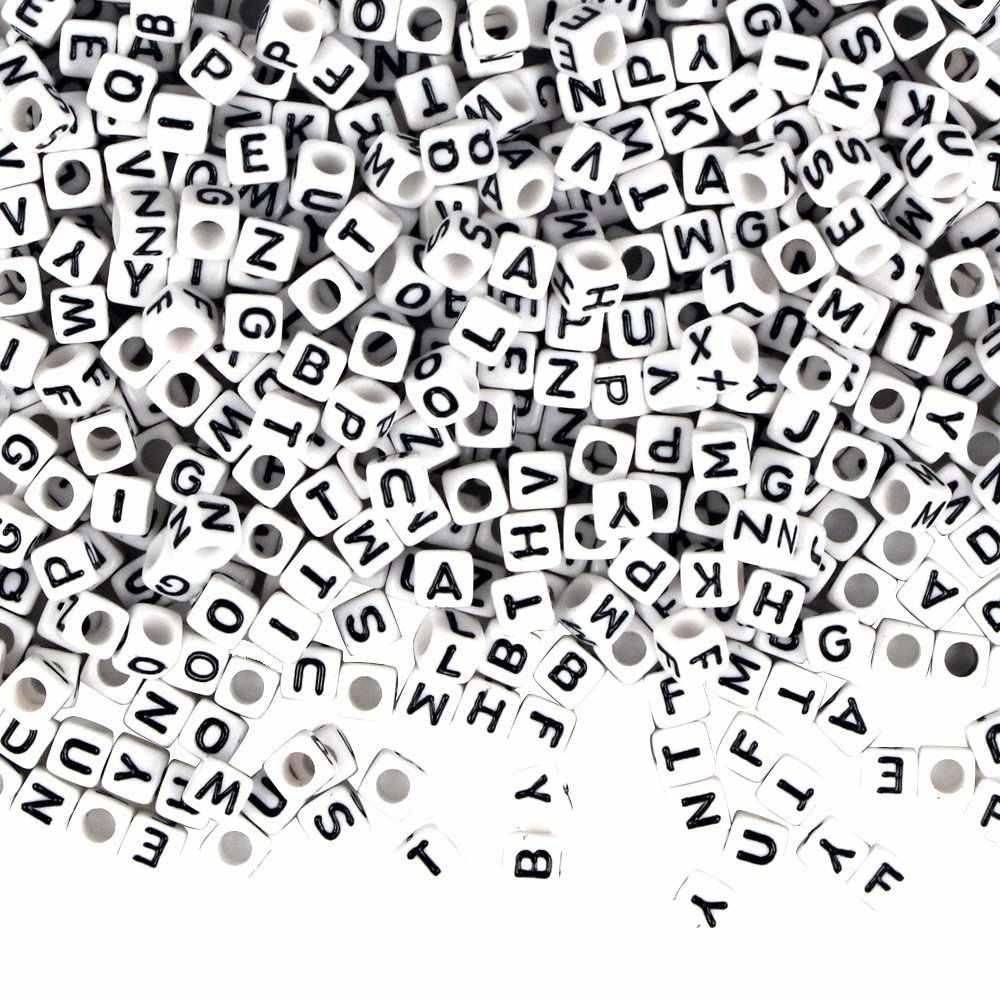 手作り正方形アクリルアルファベット Lettter 英語ビーズキューブ Diy ルースプラスチックの手紙ビーズ Diy のブレスレットネックレス 6/7 /10 ミリメートル