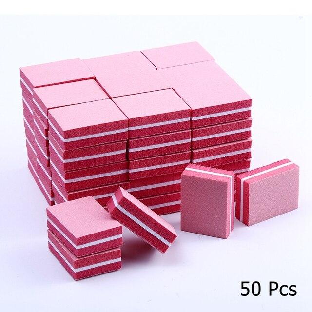 10/25/50pcs lot Double-sided Mini Nail File Blocks Colorful Sponge Nail Polish Sanding Buffer Strips Polishing Manicure Tools 4