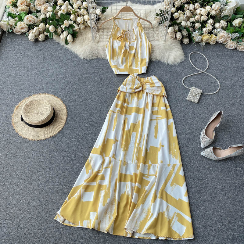 Two Piece Sets Woman Long Maxi Skirt 3