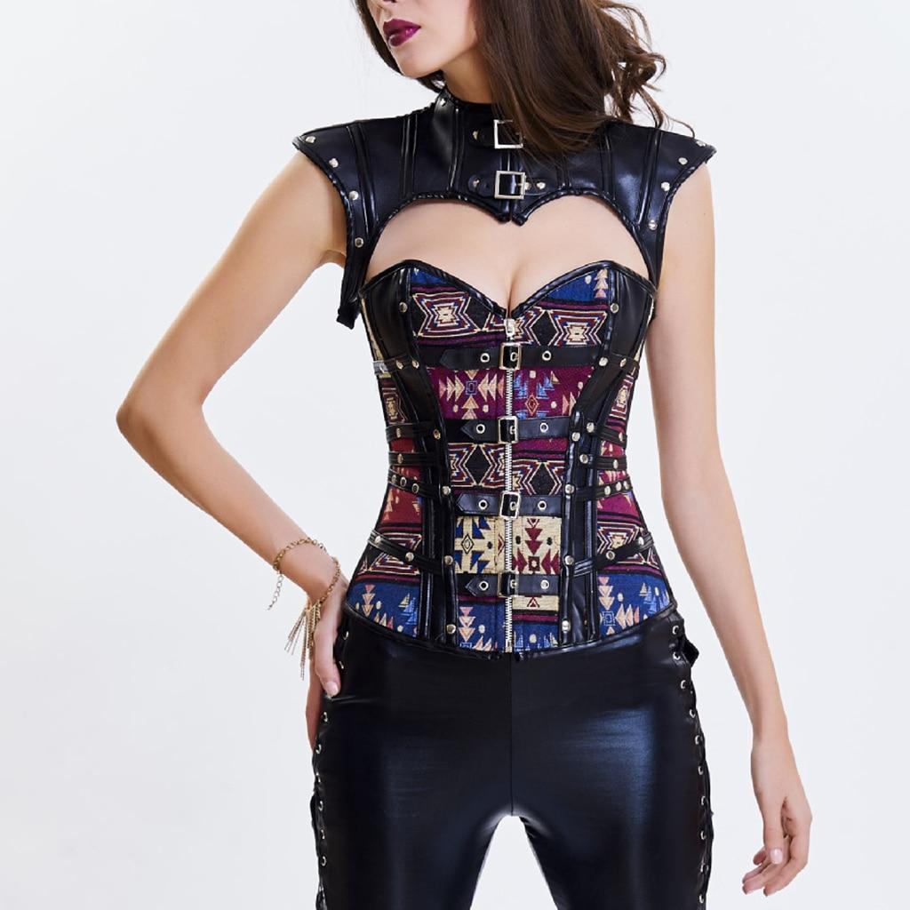 Womens Steampunk Gothic Waist Training Corset Steel Boned Shapewear Bustier Top