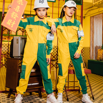 Hip Hop Dance Costumes Children Fashion Stitching Color Jumpsuit Girls Boys Jazz Performance Clothing Street Dancewear DN4768