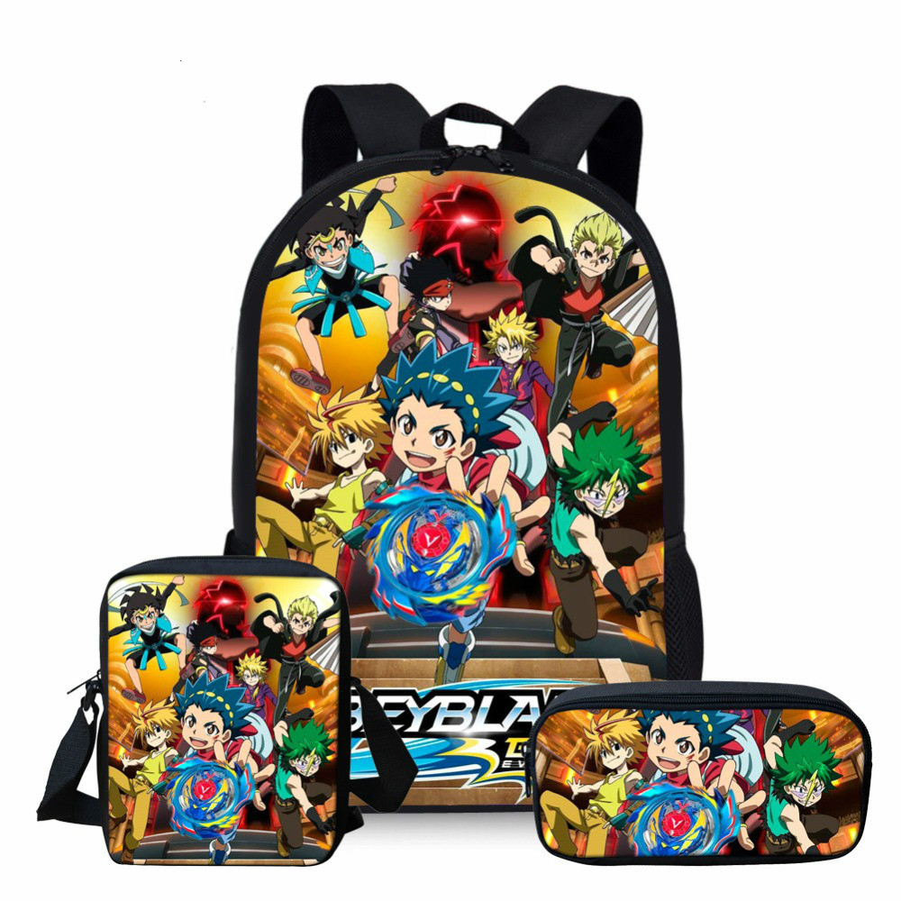 Back To School Bag Set Beyblade Burst Evolution Backpack Food Lunchbox Pen Bag
