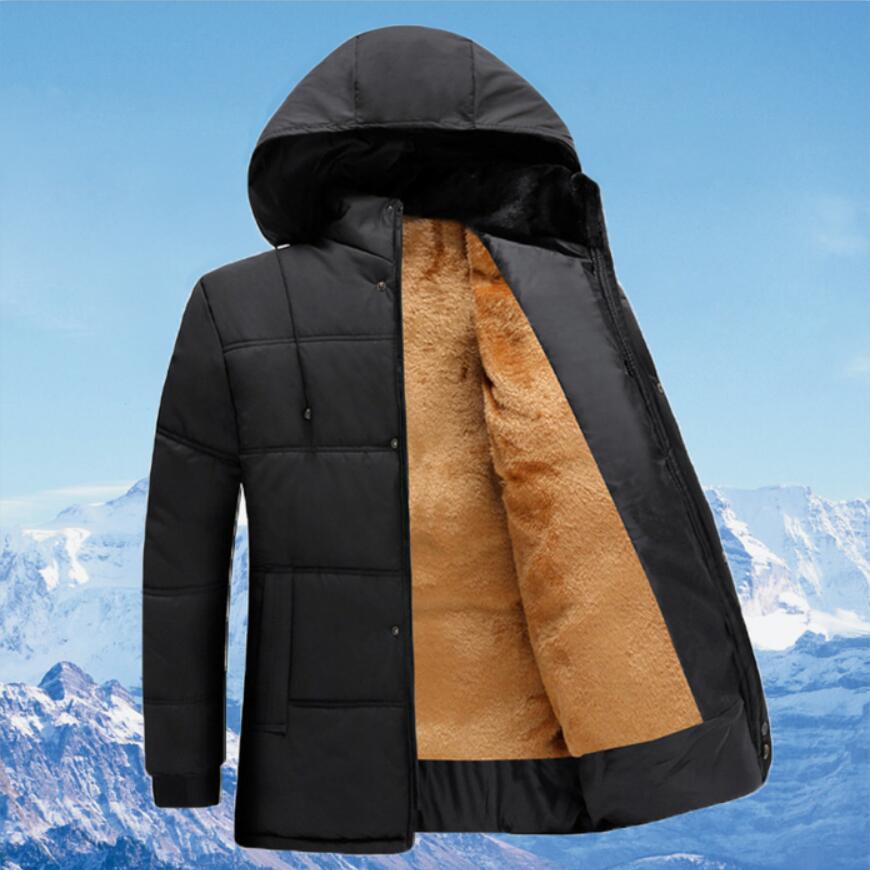 Fashion Hooded Winter Coat Men Light Warm Cotton Mens Spring Winter Jacket Father's Gift Parka