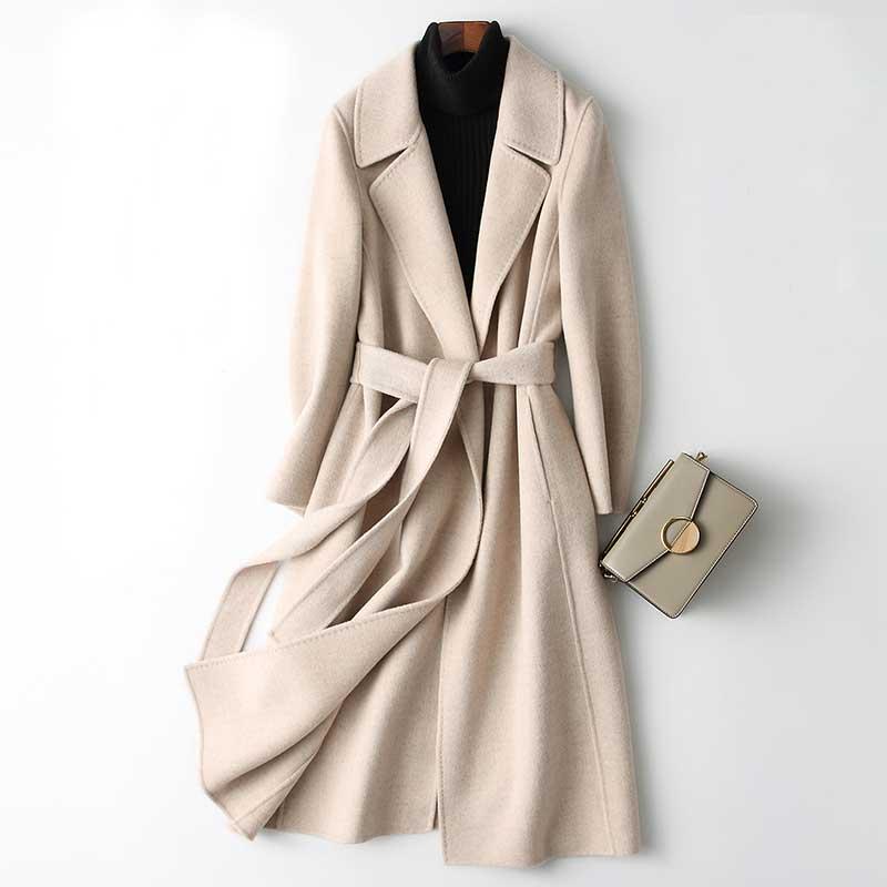 2019 Women Cashmere Long Coat Elegant Turn Down Collar Woolen Coat With Belt Open Stitch Design Winter Warm Coat Casaco Feminino