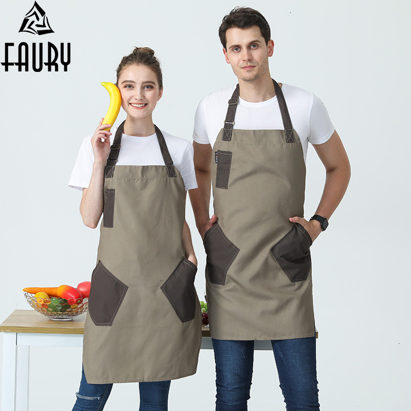 New Canvas Cotton Aprons Canvas Pockets Baking Chefs Kitchen Cooking Apron фартук кухонный Chefs With Hat Household Merchandises