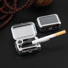 Portable Ashtray Outdoor Travel Mini Ash tray Stainless Steel Sealed Pocket Tray