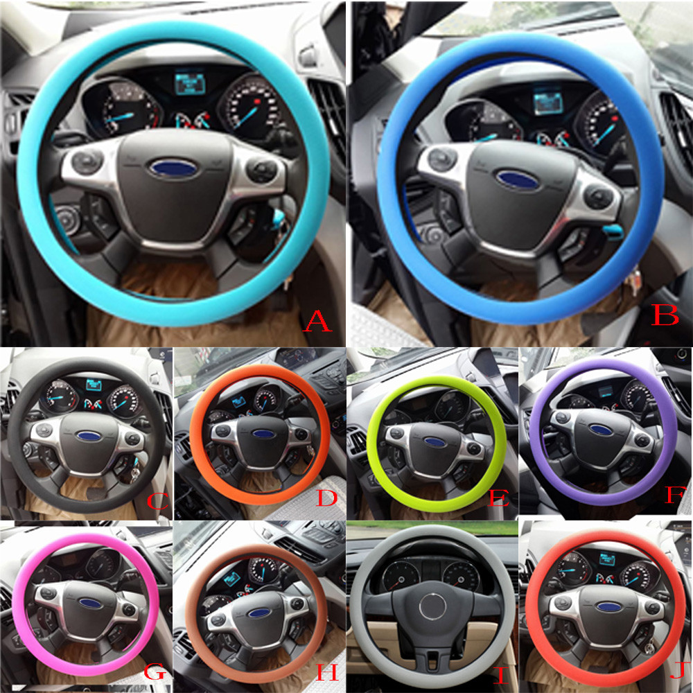 Car-Accessories Steering-Wheel-Cover Auto-Decoration Silicone Anti-Slip -Py10 Texture title=