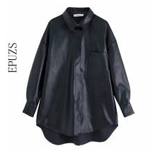 2019 PU leather oversized Blouse women long sleeve