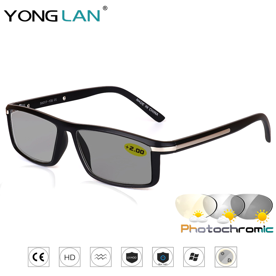 Design Photochromic Reading Glasses Men Presbyopia Eyeglasses sunglasses discoloration with diopters 1.0 1.25 1.50 1.75 2.0 2.50