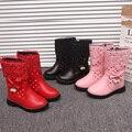 Зимние детские ботинки  кожаные ботинки для девочек  милые ботинки принцессы с бантом и жемчугом для маленьких девочек  детская обувь для де...