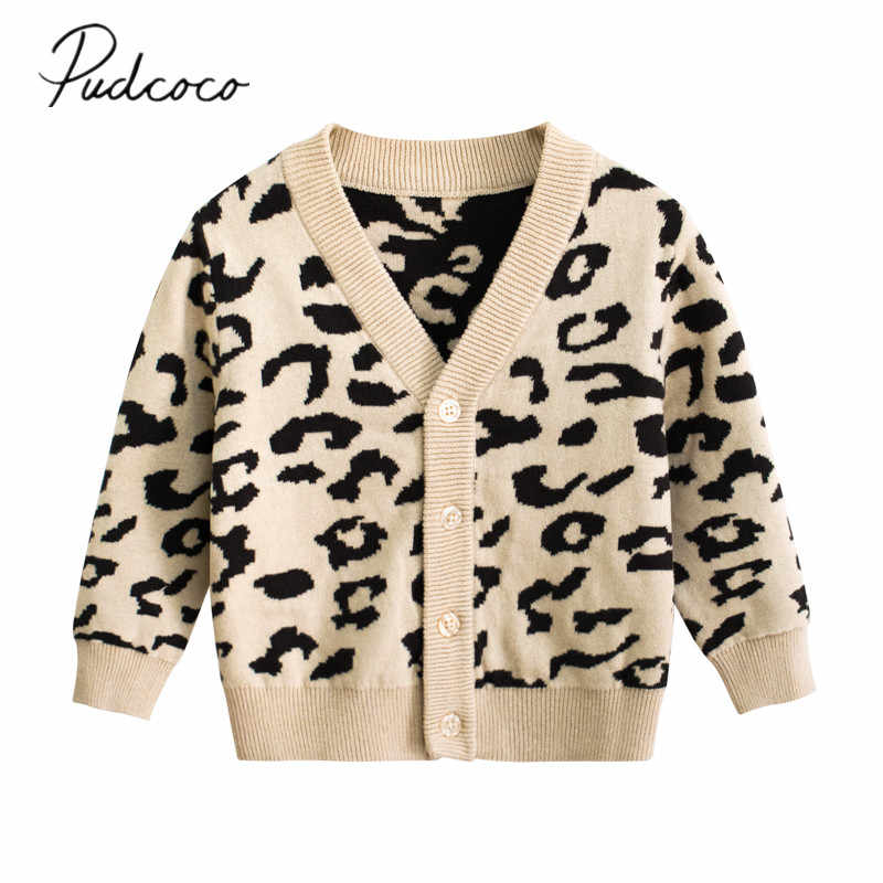 2019 Baby Herfst Winter Kleding 1-9Y Baby Meisjes Warme Truien Jassen Leopard Lange Mouw Single Breasted V-hals Causale Outfits