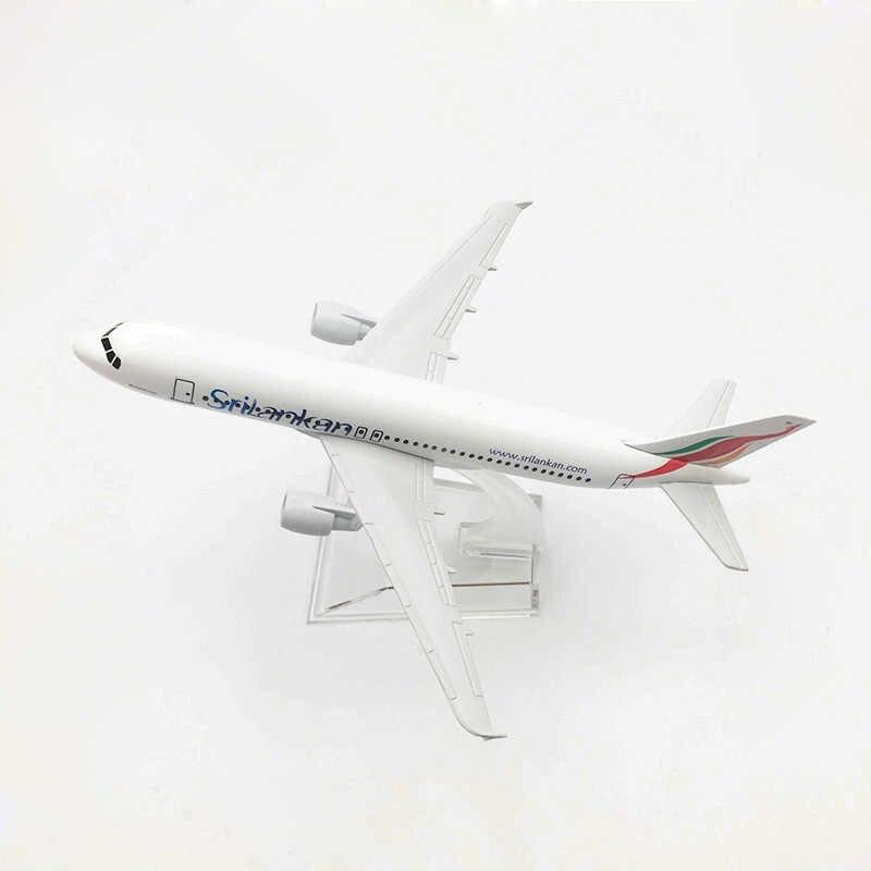 16 ซม.ศรีลังกันแอร์ Airbus A320 เครื่องบินจำลองผู้โดยสารเครื่องบินรุ่น 1:400 ศรีลังกันแอร์ไลน์ A320 โลหะผสมเครื่องประดับแบบคงที่