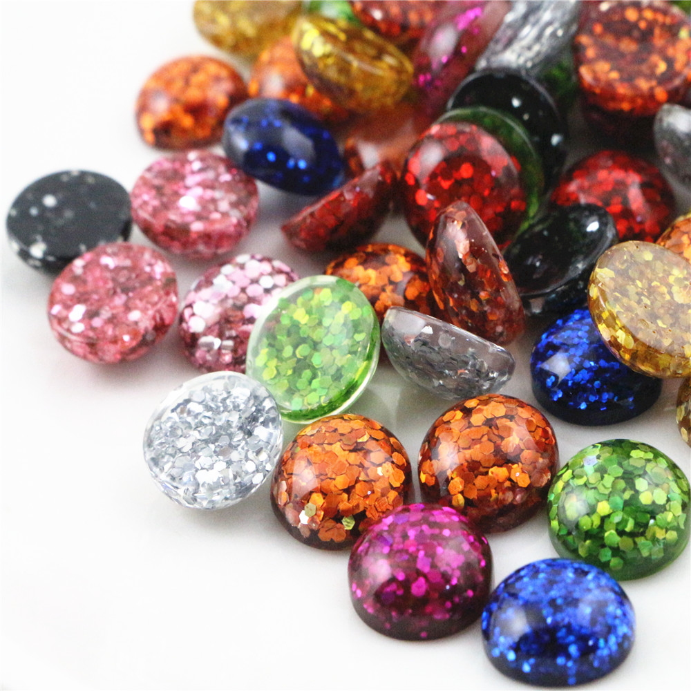New Fashion 40pcs 12mm Mix Colors Flat Back Resin Cabochons Cameo