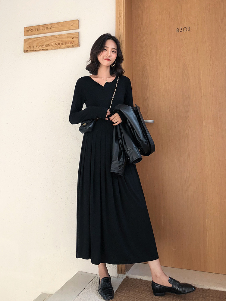 Black And White With Pattern Small V-neck Pleated Long-sleeved Dress Women's Autumn 2018 New Style Base Long Skirts Black Dress