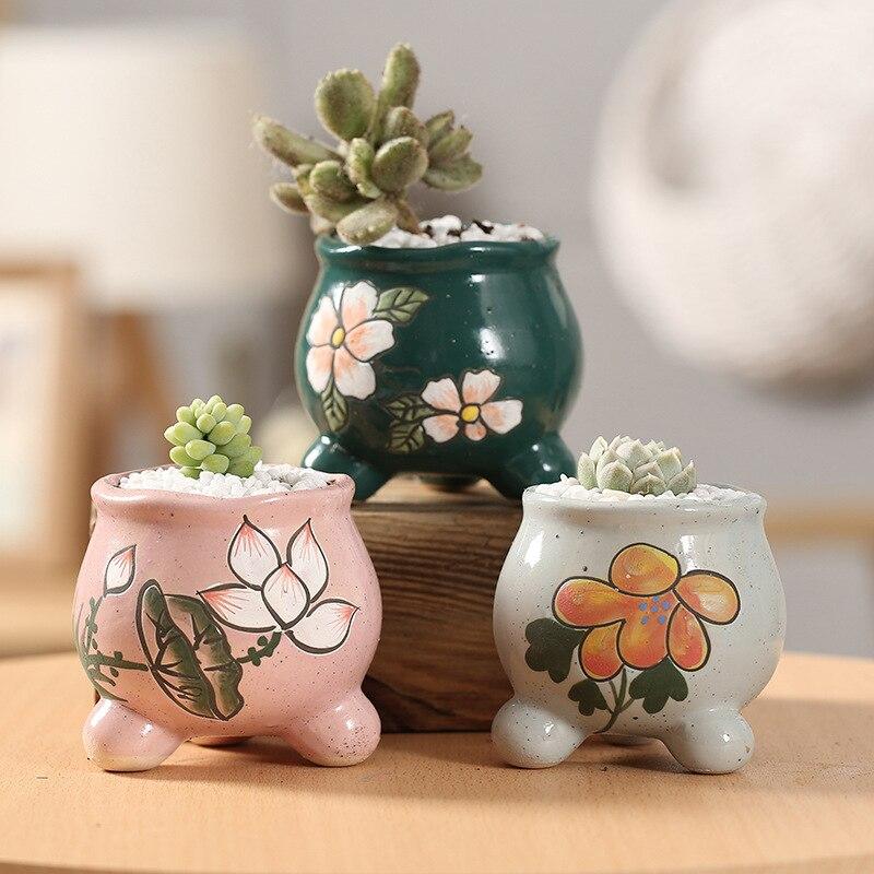 1pc Horticulture Korean Fleshy Mini Cute Flower Pot Ceramic Thumb Pot Color Hand painted Flesh Pot|Flower Pots & Planters| |  - title=