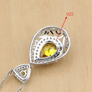 Image 5 - Drop 925 Sterling Silver Jewelry Yellow Cubic zirconia Jewelry Sets For Women Earrings Pendant Rings Bracelet Necklace Set
