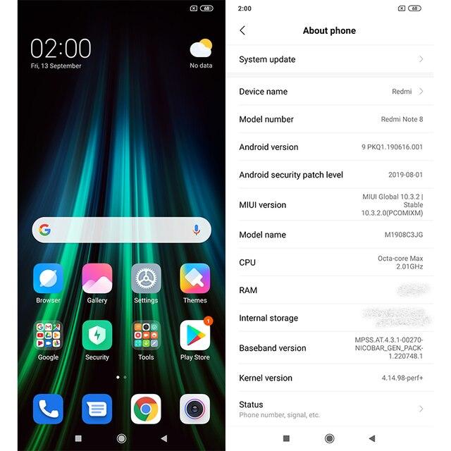 Xiaomi Redmi Note 8 Version mondiale 4 go RAM 64 go ROM Snapdragon 665 Octa Core téléphone portable 6.3  4
