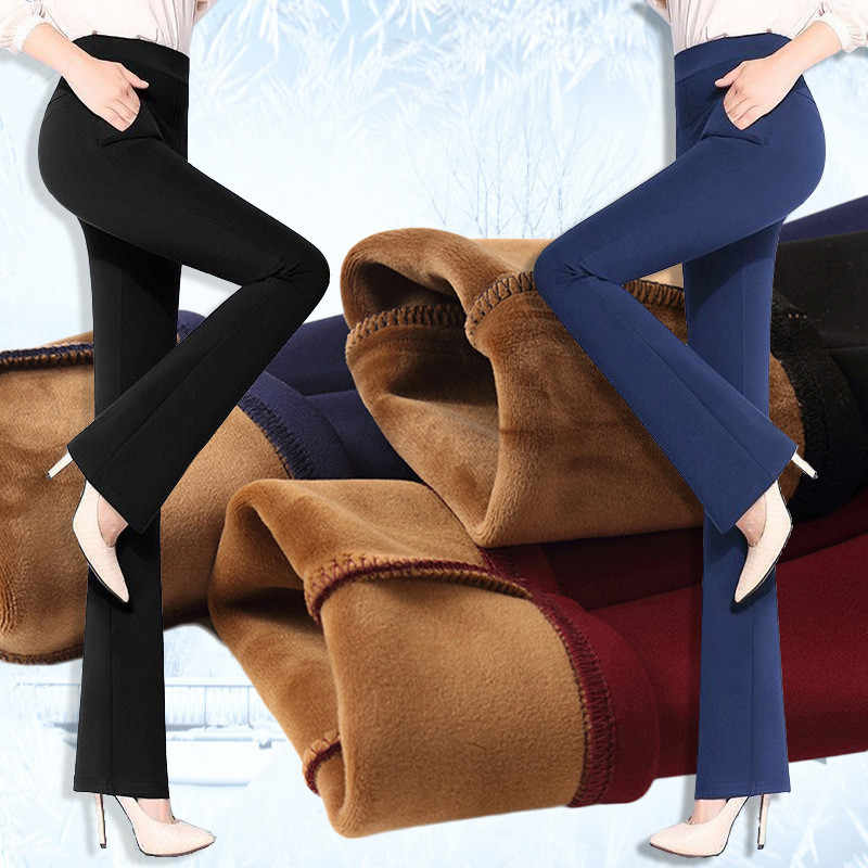 Donne Pantaloni Inverno 2019 Alta Vita Pantaloni Larghi Del Piedino Più Il Formato Caldo Coreano Chiarore Pantaloni Causale Pantaloni in Cashmere Balck Elegante pantaloni