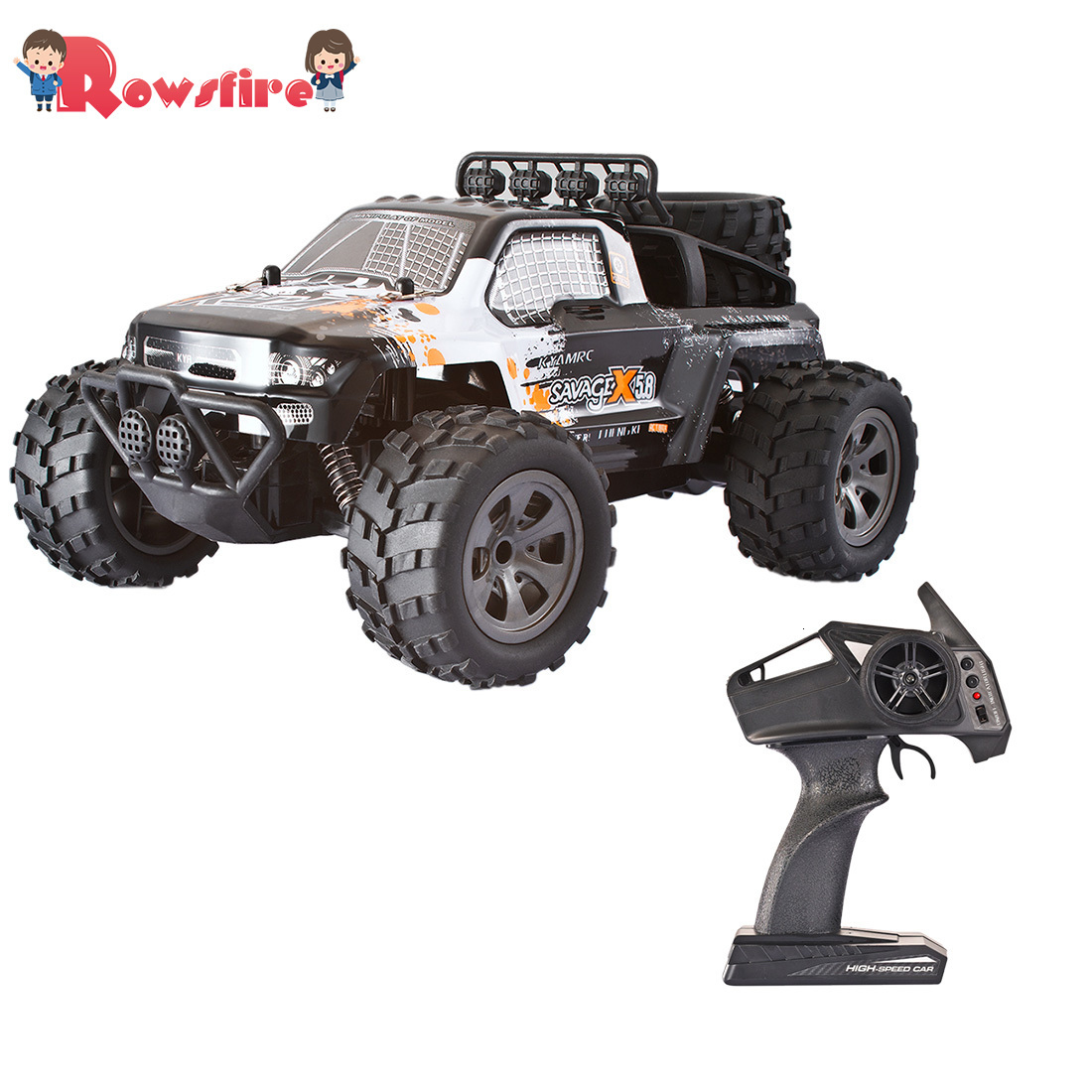 Rowsfire 1 Set 1:18 2.4G RC Cars Off-Road Vehicle Monster Trunk With Decorated Tire High Quality - Orange/Red/Green