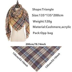 Image 4 - 2020 neue designer marke frauen kaschmir schal dreieck winter schals dame schals und wraps stricken decke neck striped foulard