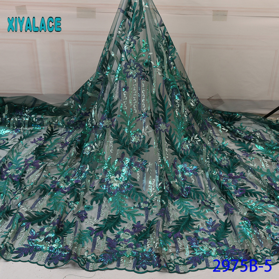 African Lace Fabric 2019 High Quality French Organza Lace Fabric Luxury  New Arrival Sequins Lace Fabrics For Wedding YA2975B-5