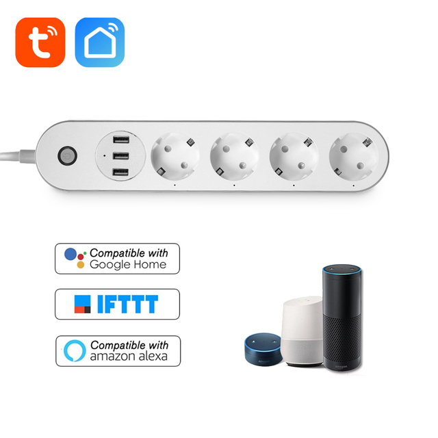 WiFi Smart Power Strip Socket Voice Control Timer Switch Power Strip Outlet with 4 AC Outlets 3 USB Port for Alexa Google Home
