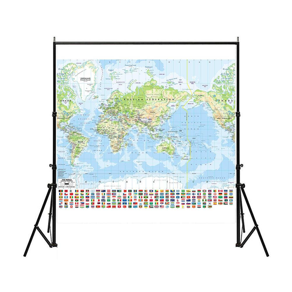 150x150cm Non-woven Spray Map Mercator Projection World Map With National Flag For Culture And Education
