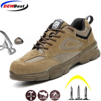DEWBEST Men's Steel Toe Work Safety Shoes Lightweight Breathable Anti-smashing Anti-puncture Non-slip Reflective Casual Sneaker