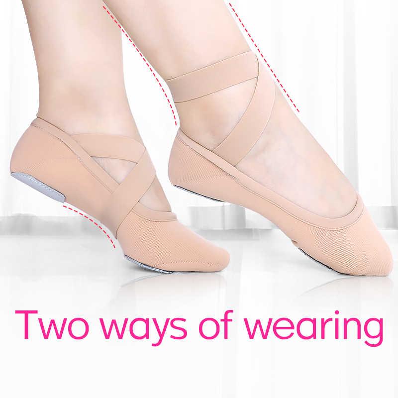 Эластичные мягкие балетные танцевальные туфли для девочек; Балетные шлепанцы; Женские танцевальные Тапочки из эластичного материала