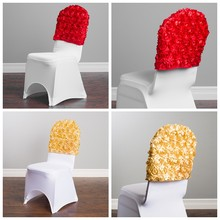 25 50 100pcs Satin Rosette Chair Cap Hood Fit For Lycra Spandex Chair Cover Event Party Hotel Decoration(China)