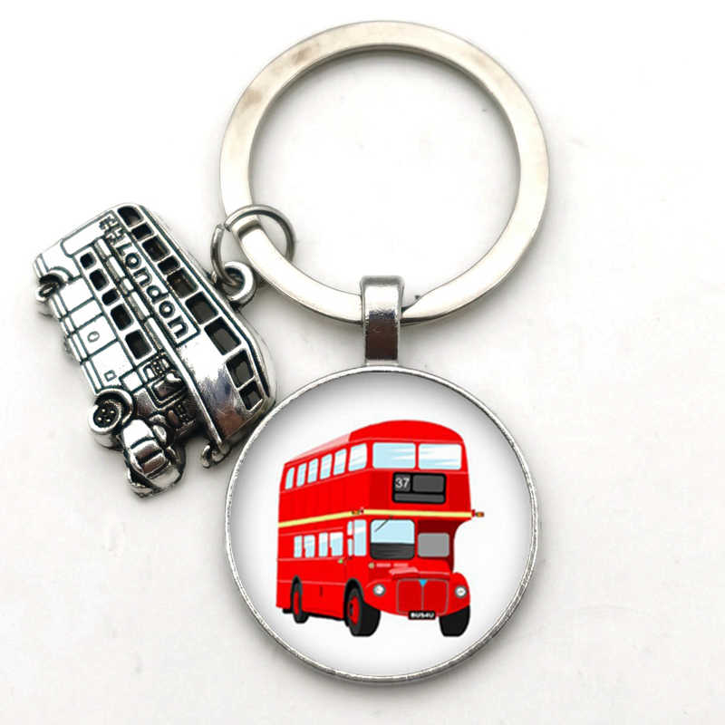 Yeni 2020 Vintage londra otobüs anahtarlık bronz otobüs desen cam dışbükey yuvarlak anahtarlık londra hediyelik eşya DIY takı hediye