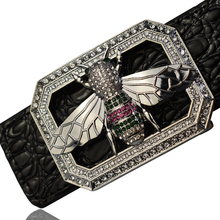2020 Luxury Brand Rhinestone Bee Buckle Belts for Men High Quality Fashion Crocodile Pattern Genuine Leather Belts