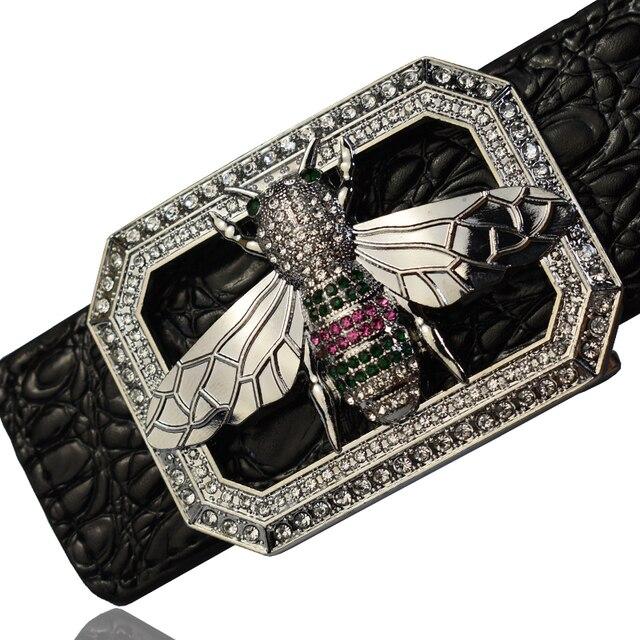 2020 高級ブランドラインストーン蜂バックルベルト男性高品質のファッションワニのパターン本革ベルト
