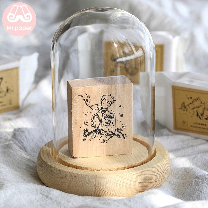 Mr.paper Vintage Little Prince Moon Decoration Stamp Wooden Rubber Stamps for Scrapbooking Stationery DIY Craft Standard Stamp 6