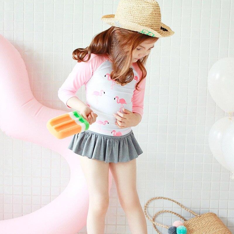 2018 New Style GIRL'S Swimsuit Big Boy Baby Children Sun-resistant Long Sleeve GIRL'S Split Skirt-Flamingo Swimwear