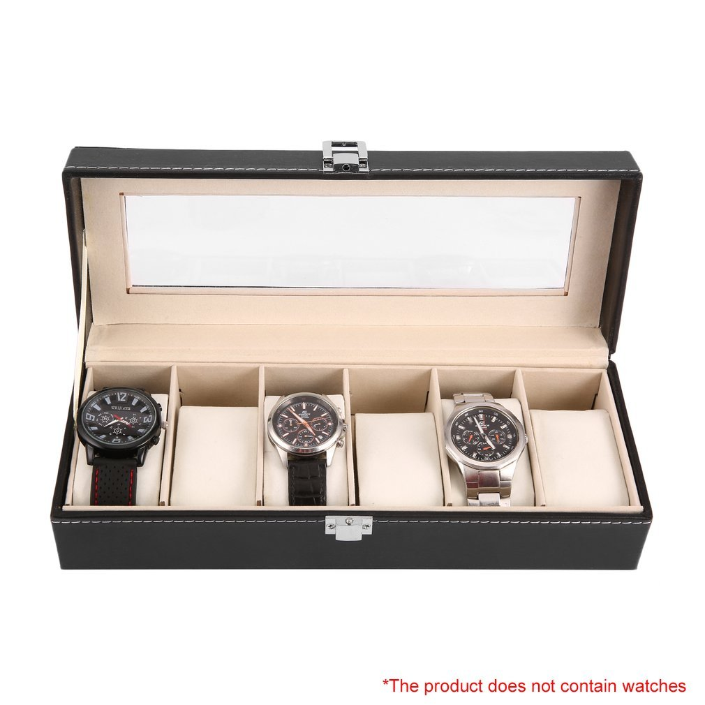 6 Grid Luxury Refinement Slots Wrist Watches Gift Case Organizer Jewelry Display Boxes Storage Holder For Home Jewelry Storage