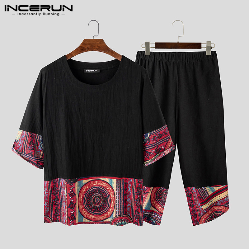 INCERUN 2020 Men Sets Print Patchwork Streetwear Vintage Cotton 3/4 Sleeve Shirt Calf Length Pants Casual Chinese Style Men Suit