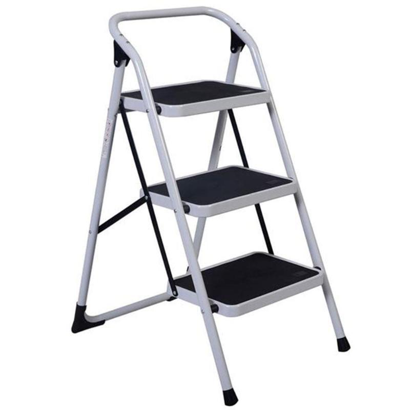 Home Use 3-Step Short Handrail Iron Ladder Black White