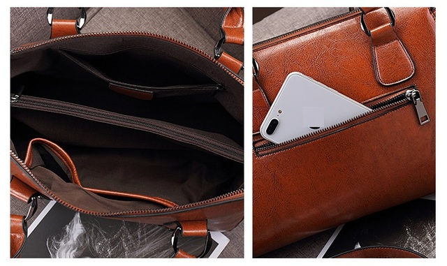 100% Genuine leather Women handbags Cow Leather Bag Ladies Genuine Leather Handbags Big Women Bags Large Vintage Female  Office 5
