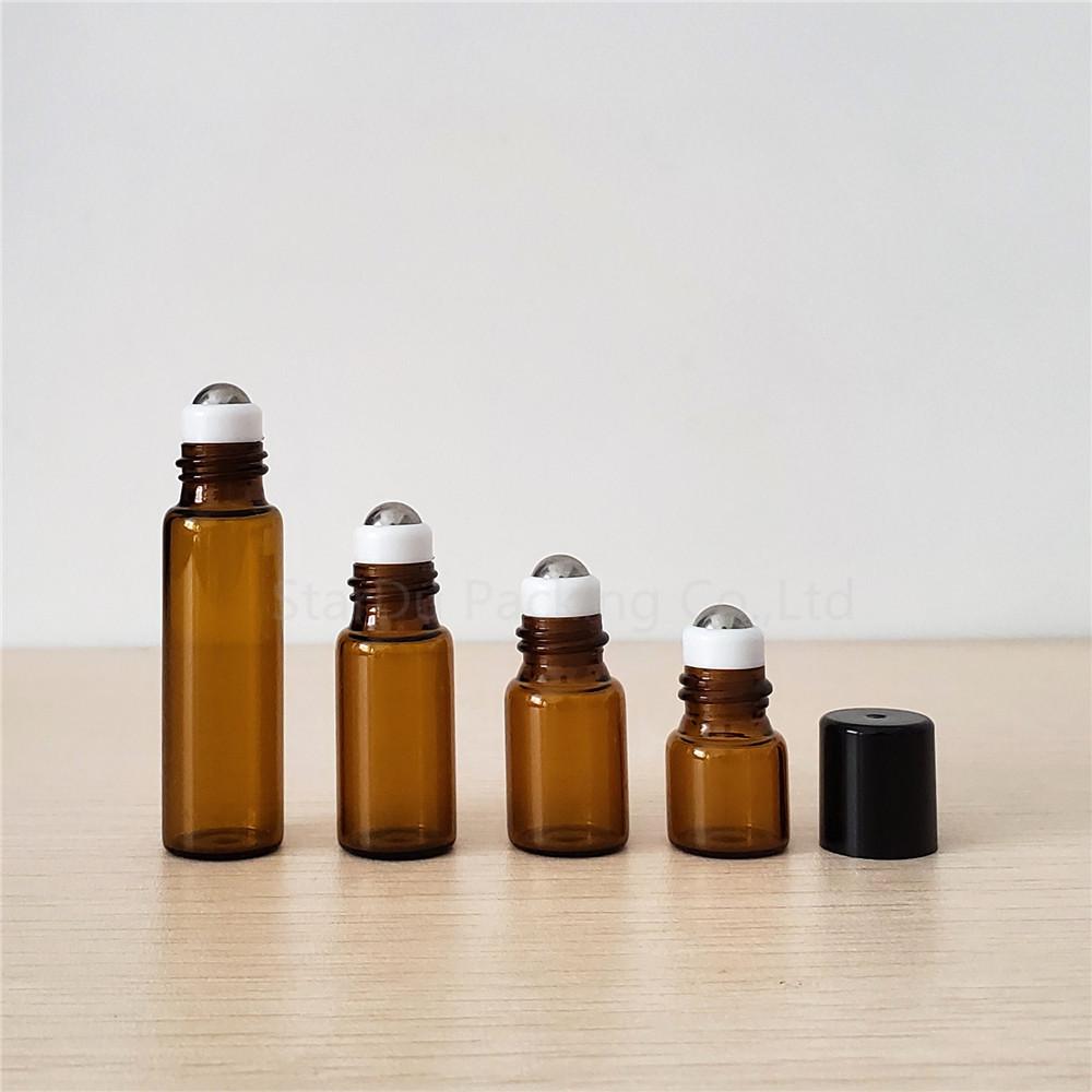 6pcs 1ml 2ml 3ml 5ml Amber Roll On Bottles For Essential Oils Roll-on Refillable Perfume Bottle Deodorant Containers