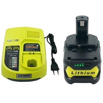 P117 Charger for Ryobi 9.6V-18V +1PC 18V 5000MAH Lithium Battery Replacement for Ryobi P108(Battery with Charger Set ) EU Plug