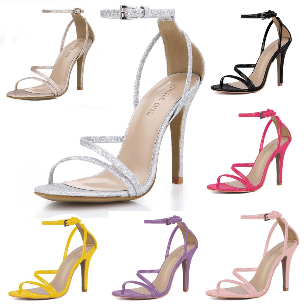 New Women/'s Stiletto Sandals Ladies Ankle Buckle Strap High Heels Glittery Shoes