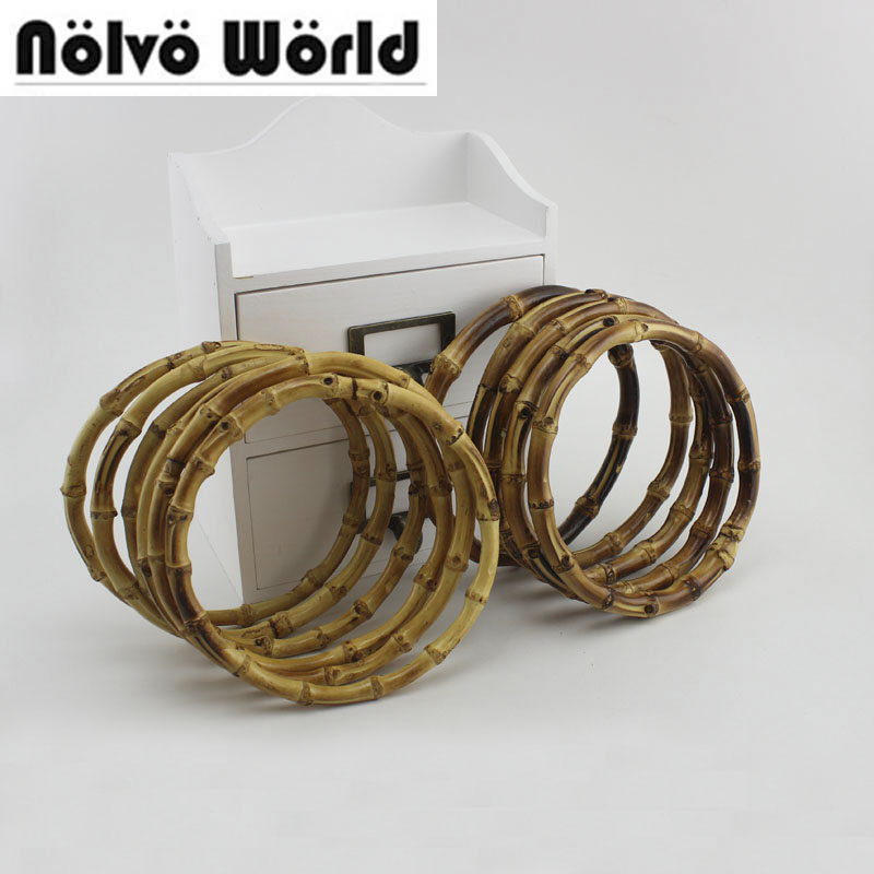 2 Pairs=4 Pieces,12cm 15cm 18cm Round Bamboo Circle Ring For DIY Bag Handbag Handle,Real Bamboo Handle For Crafts Sewing