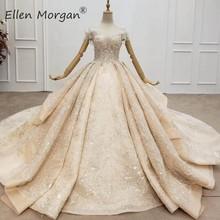 Кружевные бальные платья цвета шампанского, свадебные платья для женщин с открытыми плечами, элегантные блестящие свадебные платья принцессы с оборками и бисером, 2020