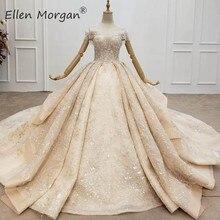 Vestidos de novia de encaje Champagne para mujer, vestidos de boda con hombros descubiertos, elegantes volantes y cuentas, brillantes, vestidos de princesa para novias 2020